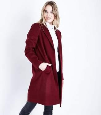 New Look Tall Burgundy Longline Collared Coat