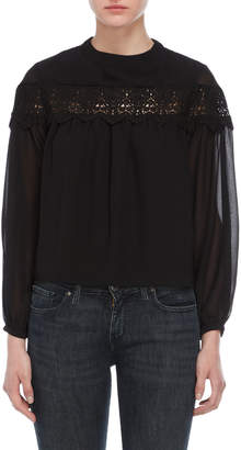 ENGLISH FACTORY Crochet Trim Chiffon Top