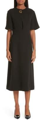 Burberry Kaly D-Ring Detail Silk & Wool Dress