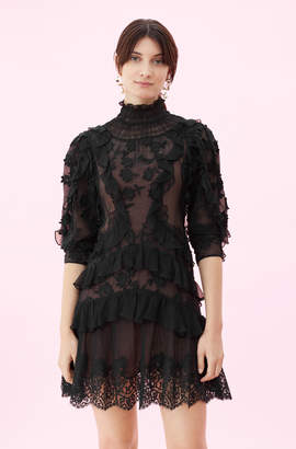 Rebecca Taylor Silk & Embroidered Ruffle Dress