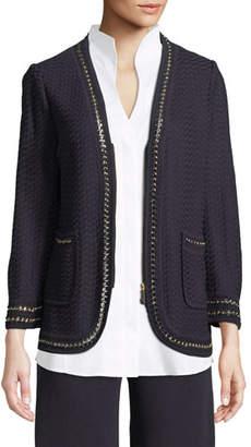 Misook Chain-Detail Knit Jacket, Plus Size