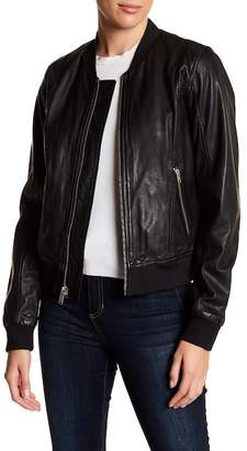 Andrew Marc Washed Leather Bomber Jacket