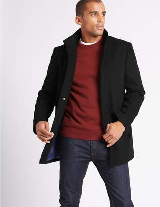 Marks and Spencer Funnel Neck Coat with Wool