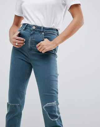 Asos Design DESIGN Farleigh high waist slim mom jeans in amaris green cast wash