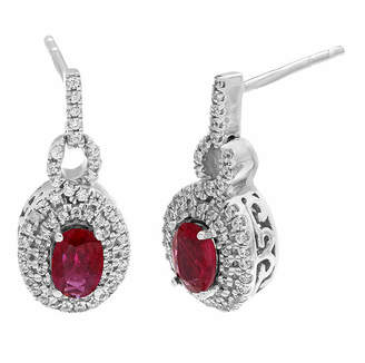 FINE JEWELRY Lead Glass-Filled Ruby and 1/2 CT. T.W. Diamond 10K White Gold Drop Earrings