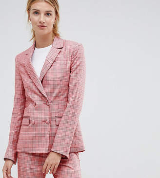 Asos Design DESIGN Tall Tailored Double Breasted Blazer in Red Check