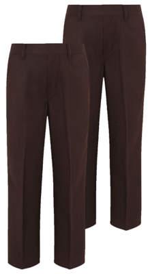 George Boys Brown Half Elastic School Trouser 2 Pack