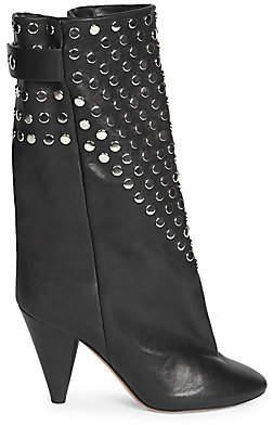 Isabel Marant Women's Lakfee Studded Leather Midi Boots
