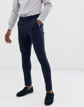 Asos Design DESIGN wedding super skinny suit pants in navy herringbone