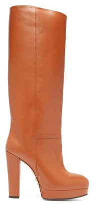 Gucci Round Toe Knee High Leather Boots - Womens - Tan