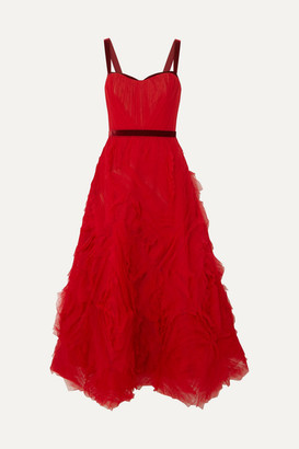 Marchesa Velvet-trimmed Layered Tulle Gown