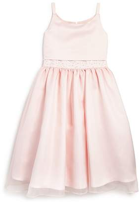 Us Angels Girls' Chiffon Overlay Satin Flower Girl Dress - Big Kid