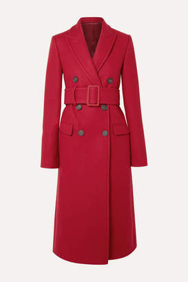 Helmut Lang Double-breasted Wool-blend Coat - Red