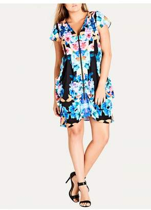 City Chic Citychic Rainbow Floral Zip Front Tunic