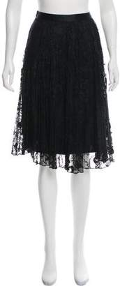 Milly Silk-Accented Lace Skirt