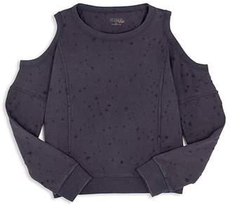 Hudson Girls' Harper Distressed Cold Shoulder Sweatshirt - Big Kid