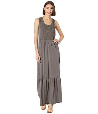 Mod-o-doc Embroidered Maxi Tank Dress in Cotton Modal Spandex Jersey