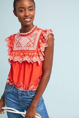 Anthropologie Briar Embroidered Blouse