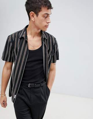 Bellfield Short Sleeve Shirt With Vertical Stripe