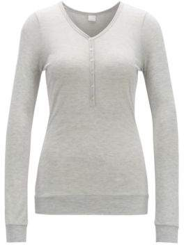 0f490f036 BOSS Long-sleeved henley T-shirt in jersey