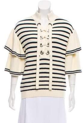 Self-Portrait Striped Frill-Sleeve Sweater w/ Tags