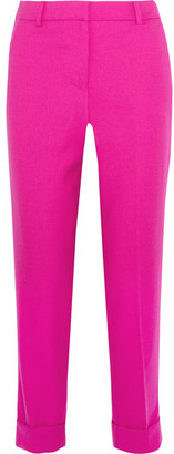 J.Crew - Patio Cropped Wool-twill Straight-leg Pants - Fuchsia $168 thestylecure.com