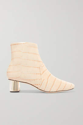 Nanushka - Clarence Croc-effect Leather Ankle Boots - Cream