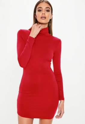 Missguided Red Turtle Neck Long Sleeve Curve Hem Bodycon Dress
