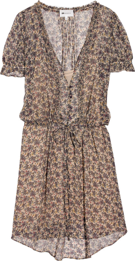 Vanessa Bruno Athé Floral-print silk-chiffon dress