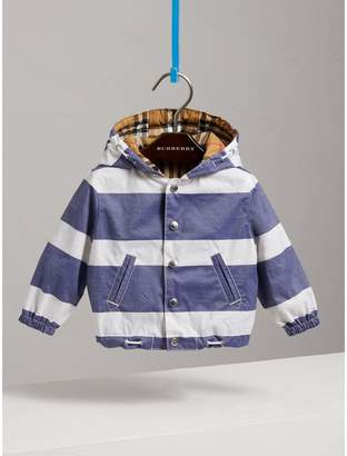 Burberry Reversible Stripe and Vintage Check Hooded Jacket