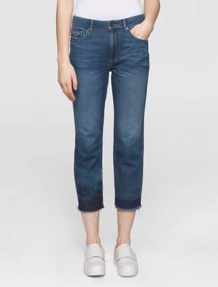 Calvin Klein boyfriend fit mid-blue cropped jeans