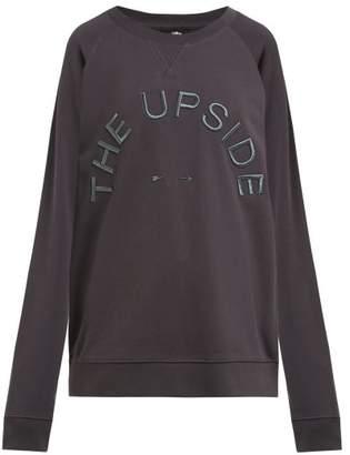 The Upside Embroidered Logo Cotton Jersey Sweatshirt - Womens - Dark Grey