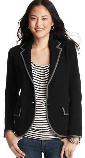 Cotton Tipped Sweater Blazer