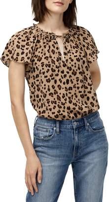 J.Crew Leopard Print Silk Flutter Sleeve Top