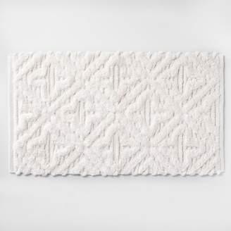 Opalhouse Textured Diamond Shag Bath Rug Cream