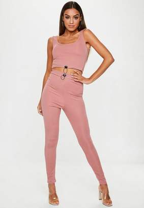 Missguided Rose Pink Ribbed Toggle Leggings