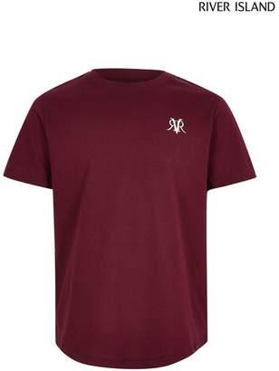 River Island Boys Burgundy Embroidered T-Shirt - Brown