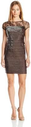 London Times Women's Petite Shimmer Shutter Layered Dress with Metallic Lace Yoke