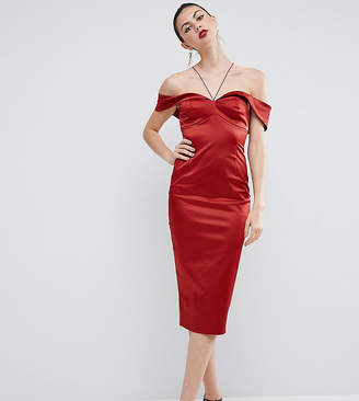 ASOS Tall ASOS TALL Folded Bardot Pencil Dress With Halter Strap Detail