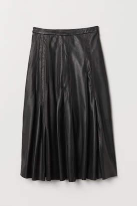 H&M Knee-length Leather Skirt - Black