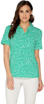 Denim & Co. Printed Short Sleeve Polo Top with Pocket Detail
