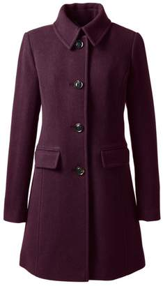 Lands' End Red Plus Wool Blend Car Coat