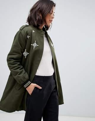 Zibi London parka jacket with embellished star detail