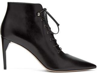 Miu Miu Lace Up Leather Ankle Boots - Womens - Black