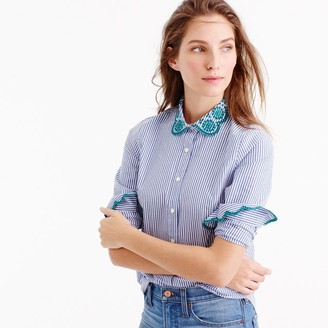 Striped perfect shirt with eyelet trim $88 thestylecure.com