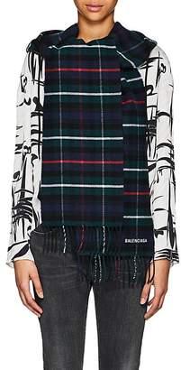 Balenciaga Women's Plaid Wool Hooded Scarf