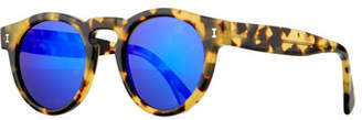 Illesteva Leonard Round Mirrored Sunglasses, Tortoise/Rose