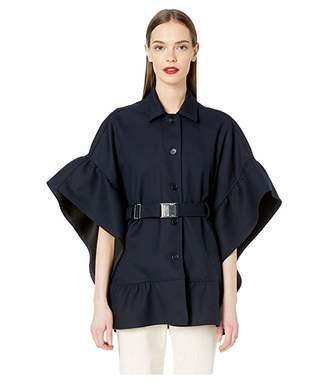 RED Valentino Tricotine Tech Belted Cape with Flounce