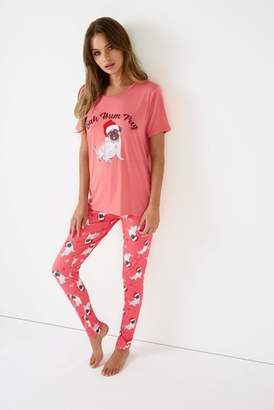 Next Womens Boohoo Bah Hum Pug Christmas Tshirt And Trouser Christmas PJ Set