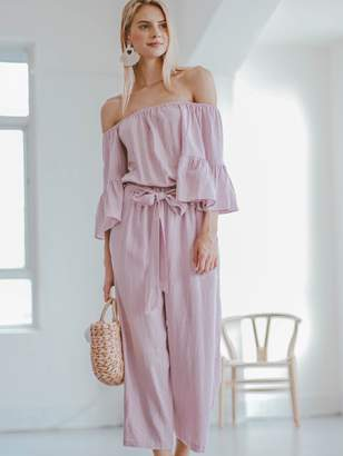 Goodnight Macaroon 'Brianna' Tied Front Off The Shoulder Jumpsuit